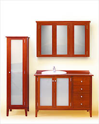 Classic 1200 Timber Bathroom Vanity with 2 Milk Glass Doors, 4 Drawers, Linen Press and Matching Shaving Cabinet. Click to view product details.