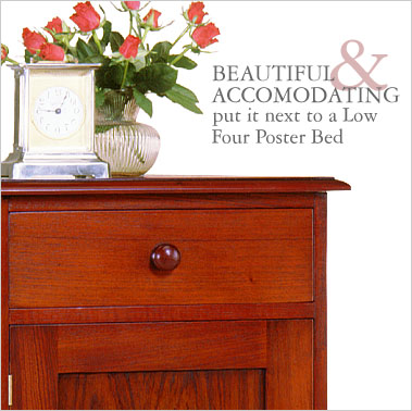 The fine proportions make this solid cedar Bedside Cabinet a versatile piece of furniture that can be used as a decorative phone table, a lamp table or for storage in the study. Click for more information.
